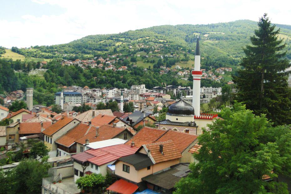 Widok z twierdzy na miasto Travnik