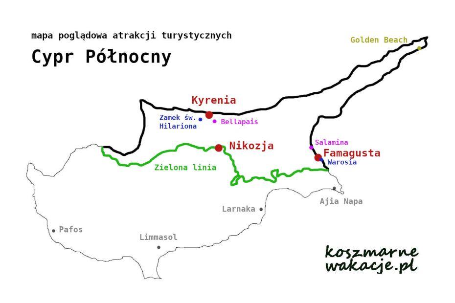 Cypr Północny, mapa atrakcji